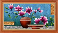 """Набор для рисования камнями 5D (частичная выкладка на холсте) """"Цветы в вазе"""" LasKo"""