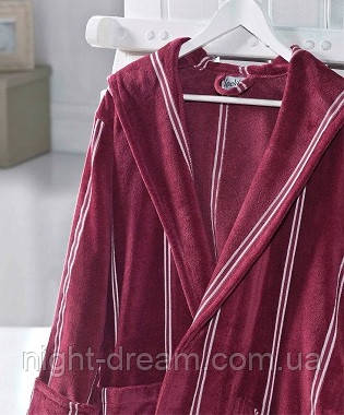 Банный махровый халат с капюшоном  Ladik  Allure v2 бордовый L