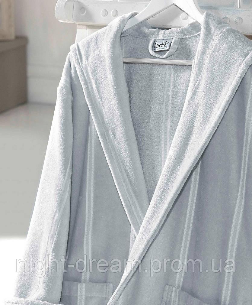 Банный махровый халат с капюшоном  Ladik  Allure v3 светло-серый L