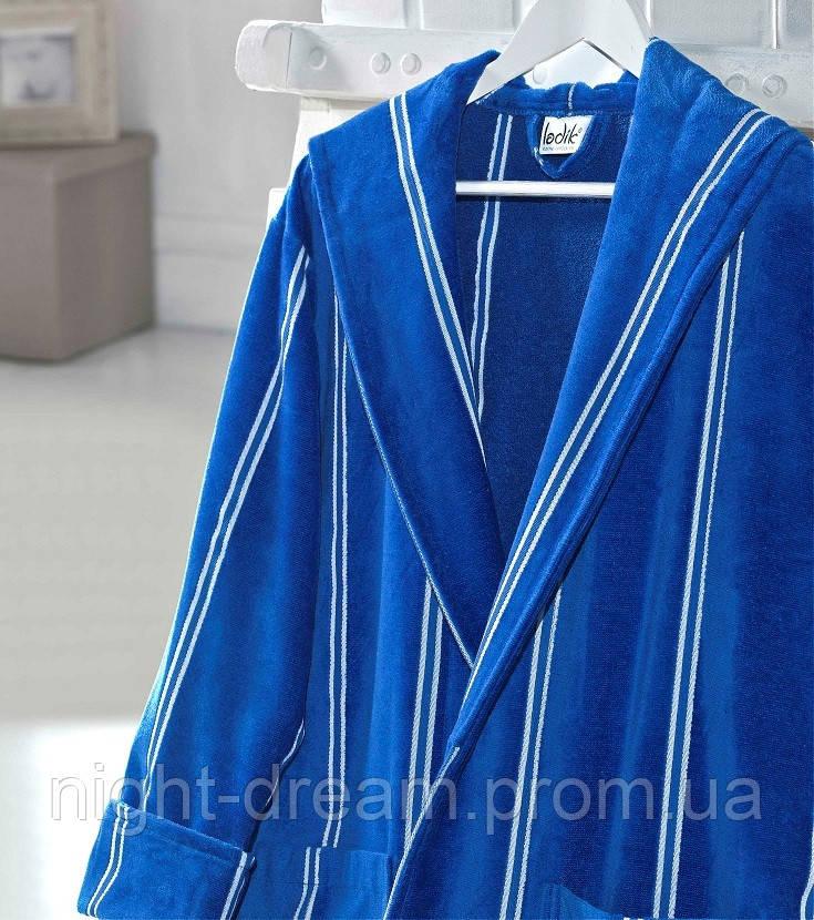 Банный махровый халат с капюшоном  Ladik  Allure v5 голубой M