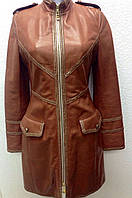 Кожаный плащ женский Adamo коричневый с золотым кантом