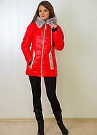 Яркая молодежная куртка с меховым воротником на молнии с карманами