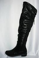 Молодежные женские зимние черные ботфорты на низком ходу