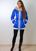 Качественная женская куртка на синтипоне под пояс в синем цвете