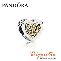 Шарм Pandora Серебряно-золотая бусина СЕРДЦЕ НА ЗАМОК 791740 серебро 925 Пандора оригинал