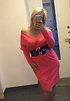 Платье  ангоровое сьёмные рукава кораловое н,б