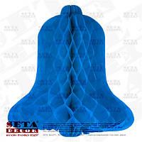 Подвесной голубой колокольчик бумажный для декора h-31 см, d-30 см.