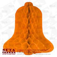 Подвесные украшения оранжевый колокольчик бумажный для декора h-31 см