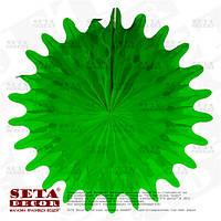 """Зелёный декор подвесной """"Диск"""" (веер, розетка) из бумаги тишью d=50 см."""