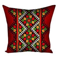 Подушка красная Орнамент из цветов