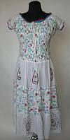 Платье летнее женское белое с резинкой под грудью, 48, 50, 52  размеры