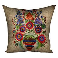Подушка вышиванка Цветочная композиция