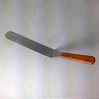 Лопатка кондитера 25 см изогнутая с деревянной ручкой