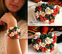 """""""Осень"""" браслет на руку с цветами"""