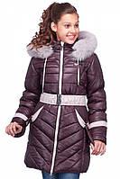 Утепленная зимняя куртка на девочку в яром цвете с капюшоном мех песец