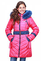 Красивая детская куртка на зиму с натуральным мехом Дженни