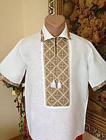 Літня вишита чоловіча сорочка з комірцем (домоткане полотно)