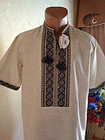 Чоловіча вишиванка на сірому льоні (ручна робота)