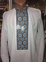 Біла чоловіча вишиванка на домотканому полотні