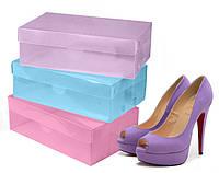 """Прозрачные пластиковые коробки для хранения обуви """"Нежность"""", набор 3шт (30х18,5х10см)"""