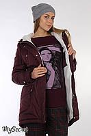 "Зимняя куртка-парка для беременных ""Nora"", утепленная, винный цвет размер S"