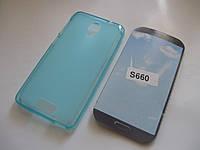 Чехол силиконовый Lenovo S660 Titanium голубой