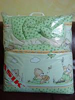 """Комплект постели для детей «Асик» ( 8 элементов) №87 """"мишка с мёдом"""" салатовый"""