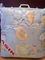 Детская постель ТМ «ASIK» ( 8 элементов) №42 мишка на лесенке голубого цвета