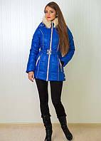 Женская куртка на синтепоне с воротником из искусственного меха