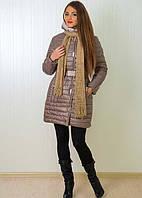 Молодежное зимнее пальто на синтепоне с трикотажным шарфиком