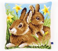 """Набор для вышивки крестом """"Подушка """"Кролики мама и малыш"""" (Mother and Baby Rabbit Cushion)"""