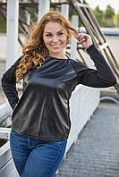 Черный кожаный женский джемпер больших размеров