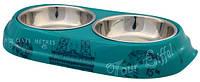 Trixie (Трикси) Bowl Set Combo Paris Набор мисок из нержавеющей стали для собак и котов 2 × 150 мл