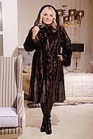 Женская Шуба из норки искусственной М-32 коричневая норка 44-54 размеры
