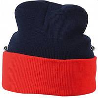 Вязаная шапка с отворотом комбинированная 7550-6