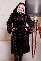 Женская искусственная шуба норка бордо 44-58 размеры