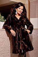 Шуба женская искусственная коричневая норка 42-52 размеры