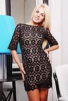 Роскошное женское платье с рукавом 3/4 IR Ажур; цвета: черный+нежнорозовый | темносиний | чёрный