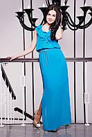 Летнее шифоновое платье в пол IR Шифон; цвета: зелёный | голубой | коралл