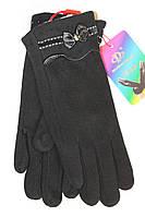 Стрейчивые перчатки с красивым украшением в виде бантика