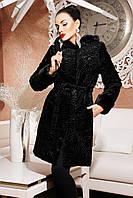 Шуба искусственная женская черный каракуль 42-52 размеры