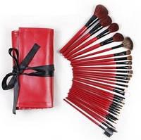 Набор профессиональных кисточек для макияжа 30 шт. в розовом чехле