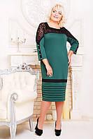 """Женское платье больших размеров  """"Зина""""-зеленый-54,56,58р"""