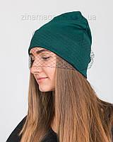 Шапка с вуалью темно-зеленая