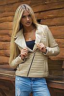 Короткая женская куртка под кожу