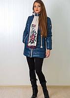 Женская курточка с  трикотажным шарфиком