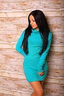 Платье туника ворот хомут трикотажная ангора размеры: 42, 44, 46