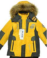 Комбинезон зимний для мальчика на биопухе с флисовой подкладкой, опушка-натуральный мех
