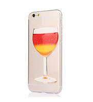 Чехол силиконовый для iphone 6 с 3D принтом - Бокал