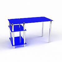 Письменный удобный стол синий из органики стекла модель Дорис